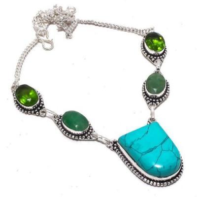 Tqa 299a collier parure sautoir turquoise peridot 32gr 24x30mm tibet achat vente bijou argent 925