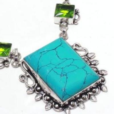 Tqa 300c collier parure sautoir turquoise peridot 35gr 24x30mm tibet achat vente bijou argent 925