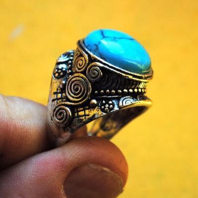 Tqa 301d bague chevaliere turquoise 18gr t59 pierre polie achat vente argent 925