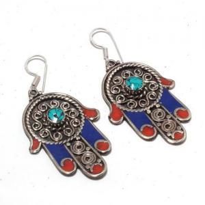 Tqa 302a boucles oreilles hamsa orientale turquoise corail lapis lazuli achat vente argent 925