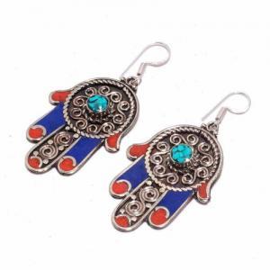 Tqa 302b boucles oreilles hamsa orientale turquoise corail lapis lazuli achat vente argent 925