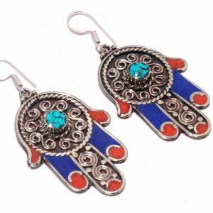 Tqa 302c boucles oreilles hamsa orientale turquoise corail lapis lazuli achat vente argent 925