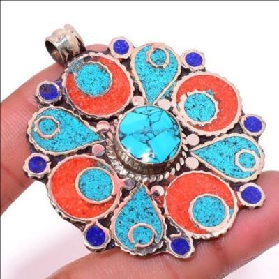 Tqa 303a pendentif pendants 20gr diam50mm turquoises lapis corail tibet achat vente bijou argent