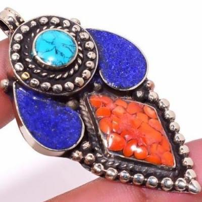 Tqa 304c pendentif pendants 22gr 35x60mm turquoises lapis corail tibet achat vente bijou argent