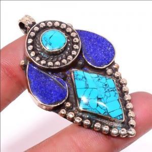 Tqa 305a pendentif pendants 22gr 35x60mm turquoises lapis tibet achat vente bijou argent