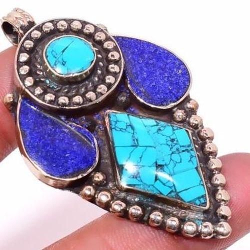 Tqa 305c pendentif pendants 22gr 35x60mm turquoises lapis tibet achat vente bijou argent