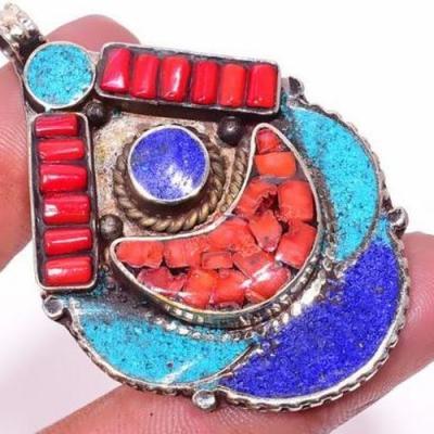 Tqa 306c pendentif pendants 22gr 40x60mm turquoises lapis corail tibet achat vente bijou argent