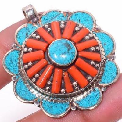 Tqa 307c pendentif pendants 19gr diam40mm turquoises lapis corail tibet achat vente bijou argent