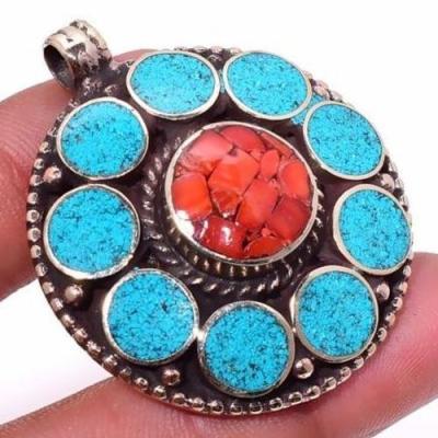 Tqa 308c pendentif pendants 23gr diam40mm turquoises lapis corail tibet achat vente bijou argent