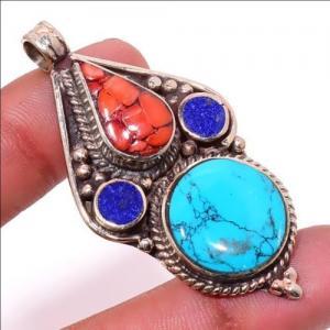 Tqa 309a pendentif pendants 19gr 30x55mm turquoises lapis corail tibet achat vente bijou argent