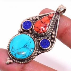 Tqa 309b pendentif pendants 19gr 30x55mm turquoises lapis corail tibet achat vente bijou argent