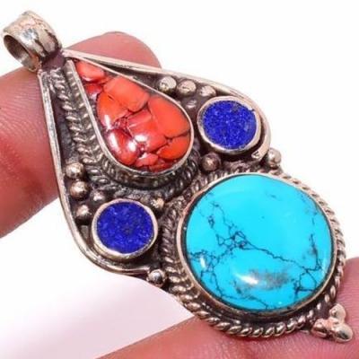 Tqa 309c pendentif pendants 19gr 30x55mm turquoises lapis corail tibet achat vente bijou argent