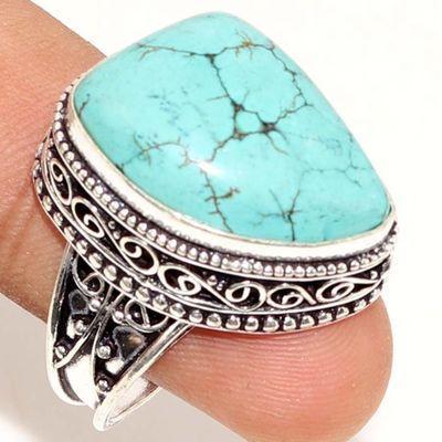 Tqa 322a bague chevaliere turquoise 10gr t59 18x25mm pierre polie achat vente argent 925