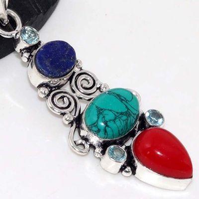 Tqa 323c pendentif pendant 9gr turquoise lapis corail 10x15mm achat vente bijou pierre naturelle