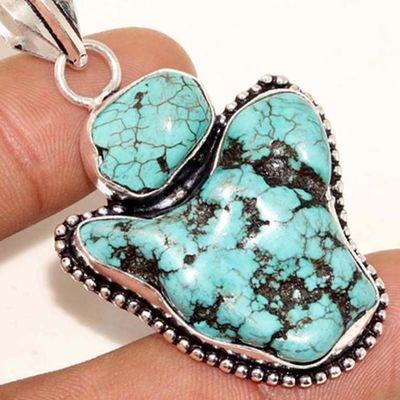 Tqa 324g pendentif pendant 16gr turquoise 30x30mm achat vente bijou argent 925 pierre naturelle