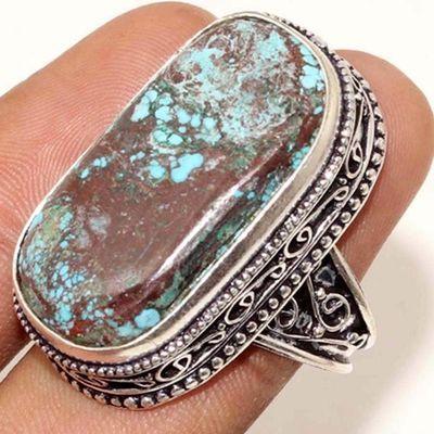 Tqa 325e bague chevaliere turquoise 15gr t60 15x30mm pierre polie achat vente argent 925