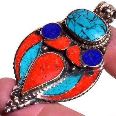 Tqa 326g pendentif pendant 20gr turquoise lapis lazuli corail 35x60mm vente bijou argent 925