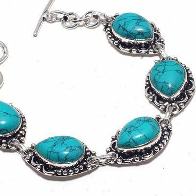 Tqa 327b bracelet 23gr turquoise 12x18mm achat vente bijou pierre naturelle argent 925