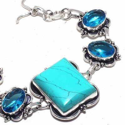 Tqa 328b bracelet 23gr turquoise topaze bleue 20x25mm achat vente bijou argent 925