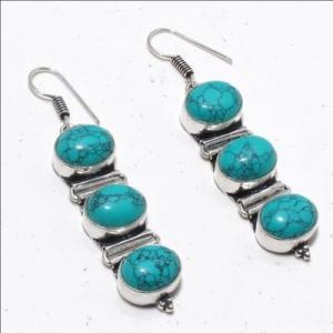 Tqa 329a boucles oreilles 15gr turquoise topaze bleue 10x12mm achat vente bijou argent 925