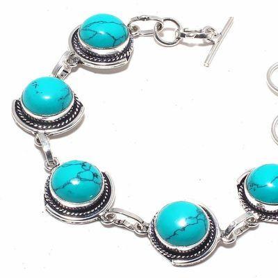 Tqa 330b bracelet 18gr turquoise topaze bleue 12mm achat vente bijou pierre naturelle argent 925