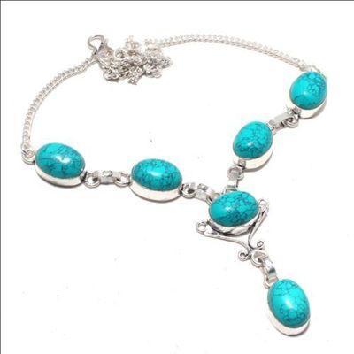 Tqa 332a collier parure sautoir 28gr turquoise 12x16mm achat vente bijou argent 925