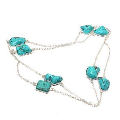 Tqa 334a collier sautoir 80cm chainette 15gr turquoise 15x15mm achat vente bijou argent 925