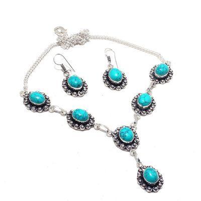 Tqa 335a collier boucles oreilles parure 34gr turquoise 15x10mm achat vente bijou argent 925