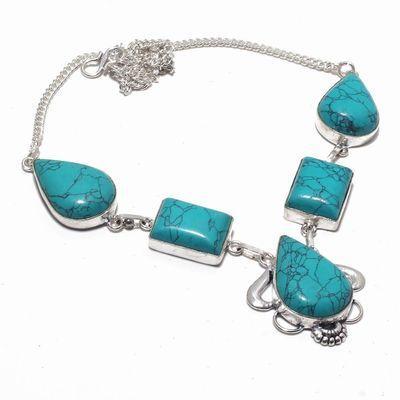 Tqa 341a collier sautoir parure pendant 33gr turquoise 15x20mm achat vente bijou argent 925