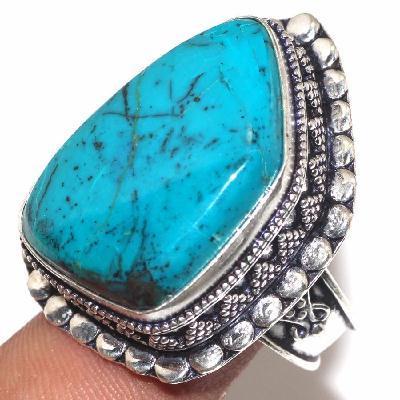 Tqa 344a bague t61 turquoise 15gr 18x28mm argent 925 ethnique achat vente
