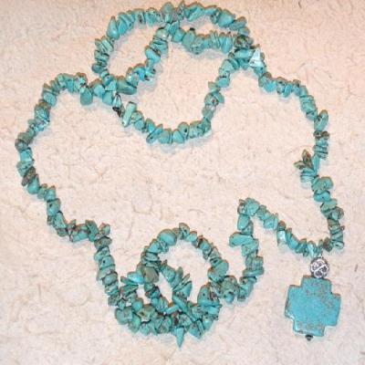 Tqa 348b collier parure sautoir turquoise croix 65gr argent 925 ethnique achat vente