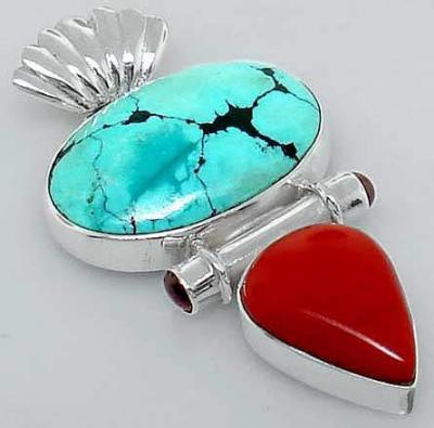 Tqa 349a pendentif pendant 12gr turquoise 20x30mm corail achat vente bijou argent 925