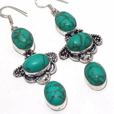 Tqa 350c boucles pendants oreilles turquoise 80mm 21gr achat vente bijou argent 925