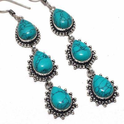Tqa 351c boucles pendants oreilles turquoise 80mm 20gr achat vente bijou argent 925