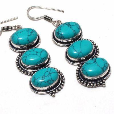 Tqa 352c boucles pendants oreilles turquoise 80mm 18gr achat vente bijou argent 925