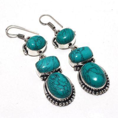 Tqa 353a boucles pendants oreilles turquoise 80mm 19gr achat vente bijou argent 925