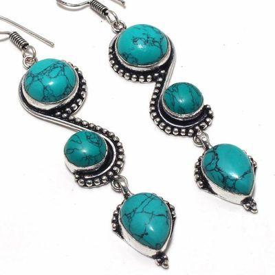 Tqa 354c boucles pendants oreilles turquoise 80mm 15gr achat vente bijou argent 925