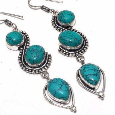 Tqa 355c boucles pendants oreilles turquoise 80mm 15gr achat vente bijou argent 925