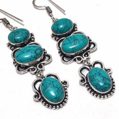 Tqa 356c boucles pendants oreilles turquoise 80mm 17gr achat vente bijou argent 925