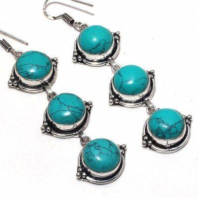 Tqa 357c boucles pendants oreilles turquoise 80mm 19gr achat vente bijou argent 925
