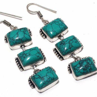Tqa 358c boucles pendants oreilles turquoise 80mm 19gr achat vente bijou argent 925