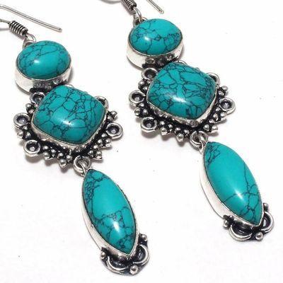 Tqa 359c boucles pendants oreilles turquoise 80mm 20gr achat vente bijou argent 925