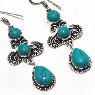 Tqa 360c boucles pendants oreilles turquoise 80mm 16gr achat vente bijou argent 925