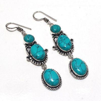 Tqa 361a boucles pendants oreilles turquoise 80mm 14gr achat vente bijou argent 925