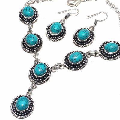 Tqa 362b collier boucles oreilles turquoise 8x10mm 36gr achat vente bijou argent 925