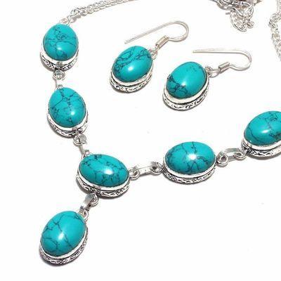 Tqa 367b collier boucles oreilles turquoise 12x16mm 34gr achat vente bijou argent 925