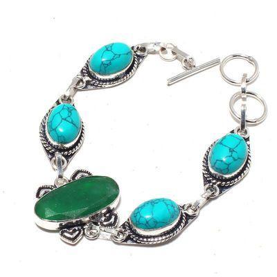 Tqa 371a bracelet turquoise 10x15mm 19gr achat vente bijou argent 925