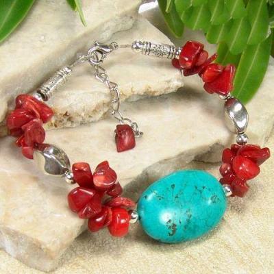 Tqa 377a bracelet 25gr turquoise corail achat vente bijou pierre naturelle argent 925