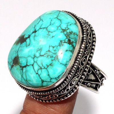Tqa 615a bague chevaliere t59 16gr 25x30mm turquoise ethnique tibet achat vente bijou argent 925
