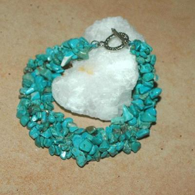 Tqr 006d bracelet turquoise woolite bijou ethnique achat vente